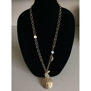 Chicos Gold Tone Charm Necklace Shell Nautical